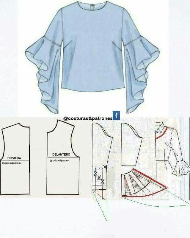 Blusas | Patterns | Pinterest | Costura, Patrones de blusa and Blusa ...