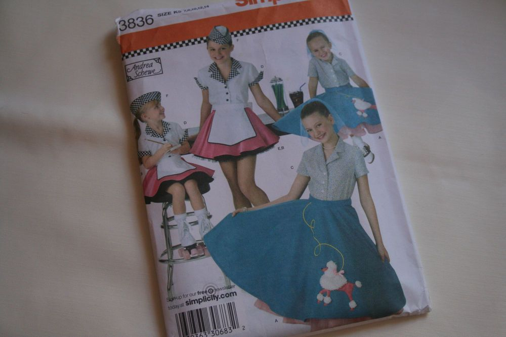 Poodle Skirt Soda Gal Pattern Simplicity 3836 Andrea Schewe Child 7 8 10 12 14