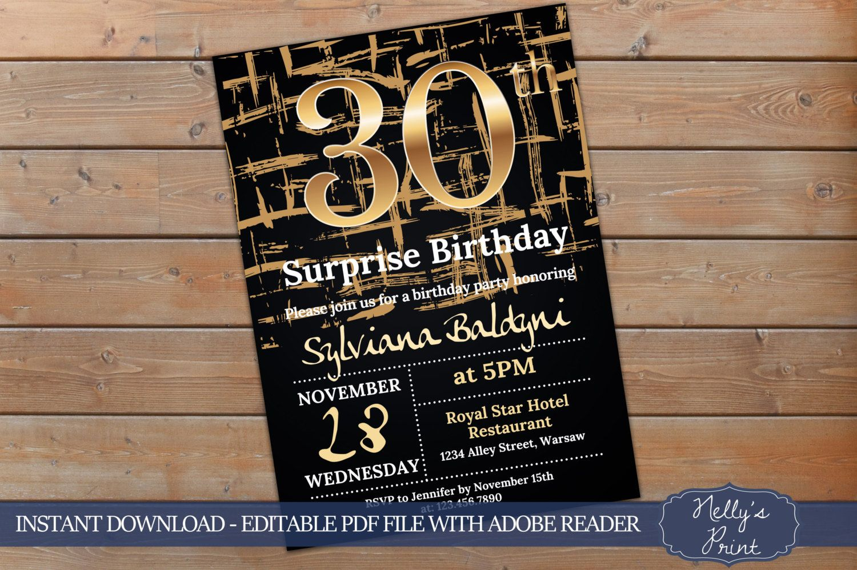 30th Surprise Birthday Invitation Adult Self Editable PDF Instant Download Women