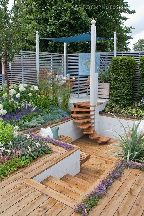 I Want To Turn The Sunken Patio Into A Sunken Deck W Wooden Benches Backyard Landscaping Patio Garden Backyard