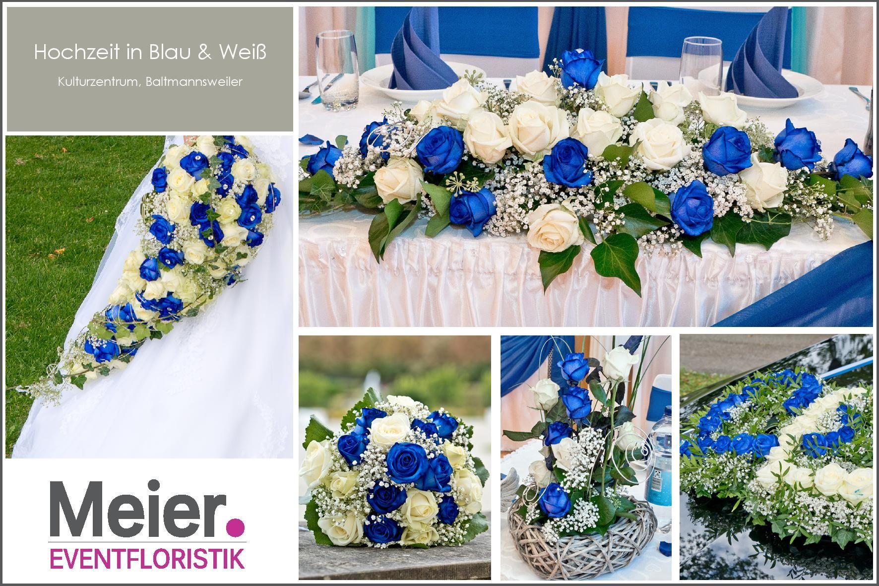 Hochzeit In Blau Und Weiss Komplett Aus Naturlichen Blumen Blumendeko Hochzeit Blumenschmuck Hochzeit Tischdekoration Hochzeit