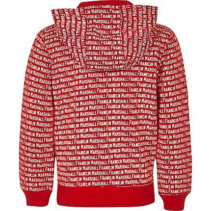 arrives 3a229 924b7 Mens Boys Franklin & Marshall Red monogram hoodie in 2019 ...
