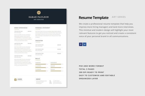 Resume Template 3 Page CV Template Design Pinterest Cv - editable resume templates