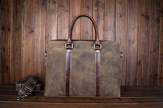 Vintage 14'' Leather Briefcase/ Messenger Bag/ by MilanStudio, $135.00
