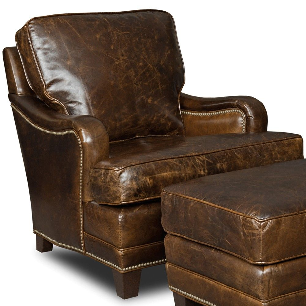 colton top-grain leather club chair in covington parish by hooker