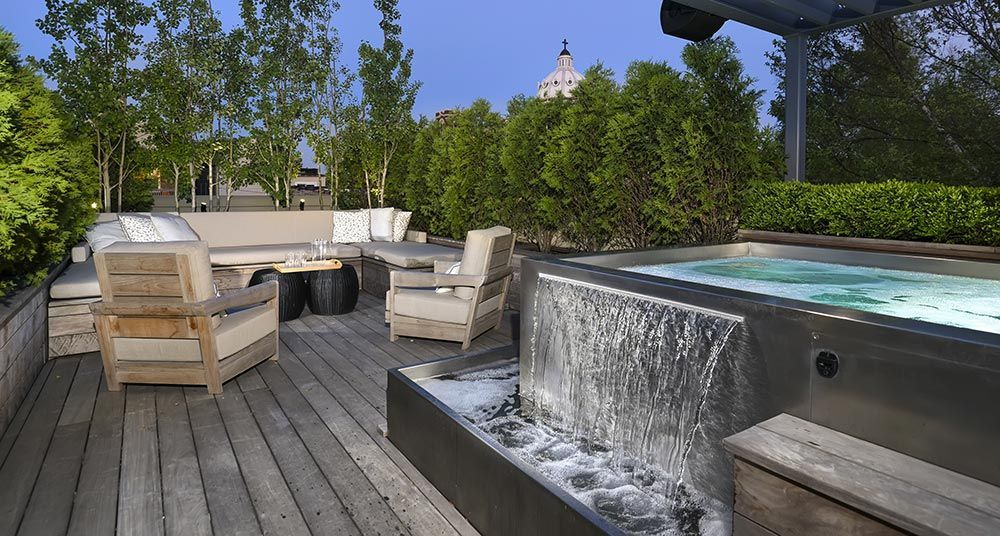 Custom Stainless Steel Roof Top Spa With Interior Stairway Bench Seating 2 Separate Water Features And Catch B Wooden Terrace Pergola Shade Pool Construction