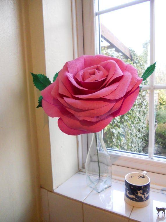 Giant paper rose alternative bouquet bridesmaid bouquet #crepepaperroses