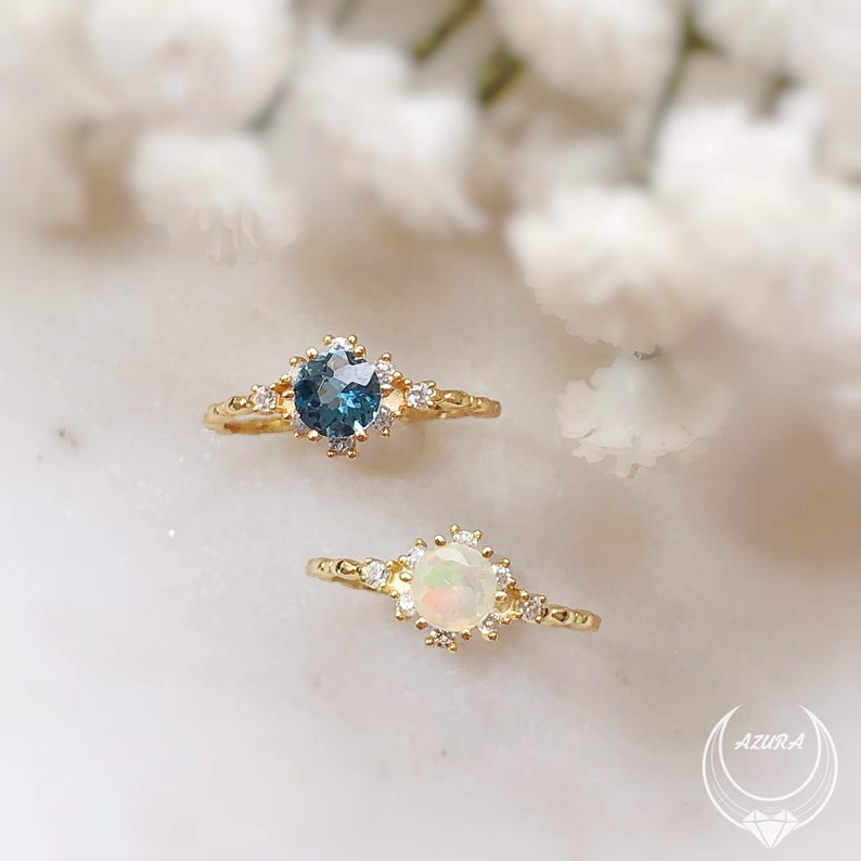 Opal ring  Opal Promise Ring  Opal Engagement Ring  Gemstone Ring  Dainty Opal Ring  Opal Stacking Ring  Ethiopian Opal Jewelry Opal ring Opal Promise Ring Opal Engagemen...