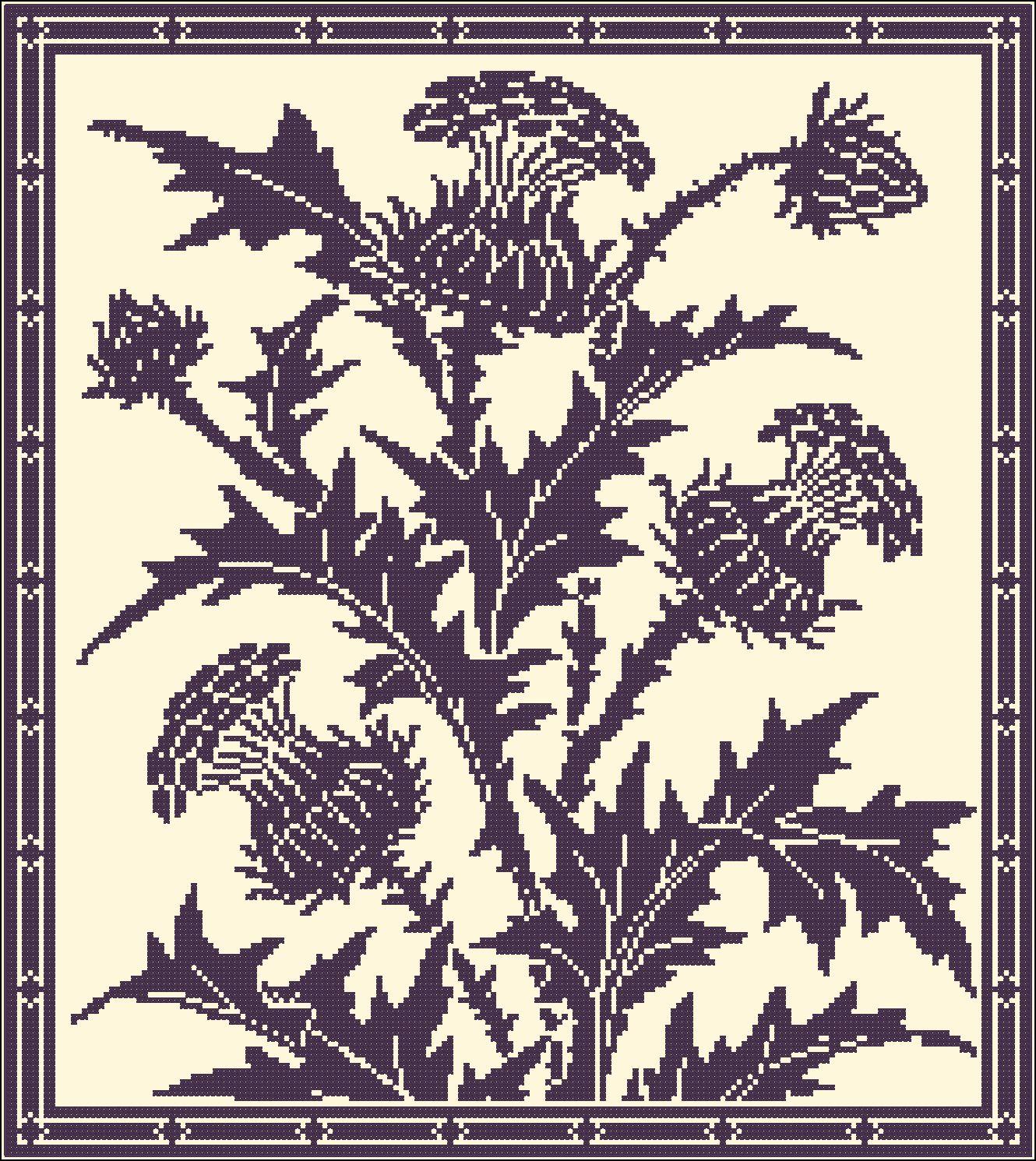 Thistle Flowers Chart For Cross Stitch Or Filet Crochet Gancedo Rose Flower Diagram 4