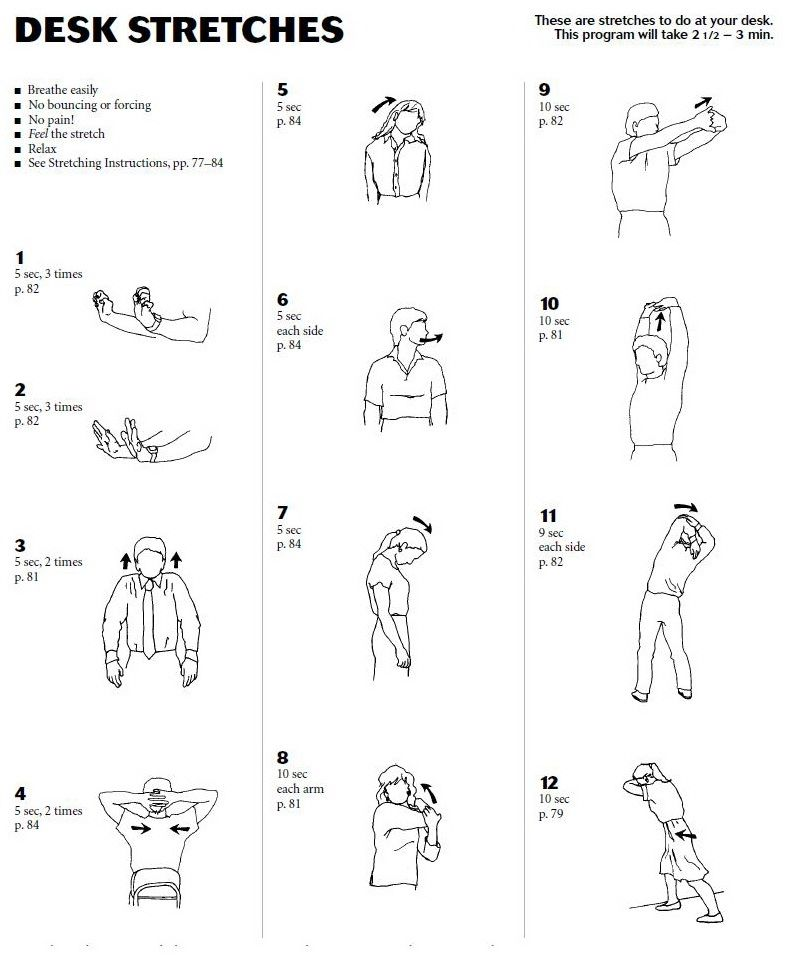 Desk stretches. - Desk Stretches. Health And Fitness Pinterest Chairs