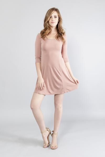 Cute, Sexy Comfy Mini Dress Micro-modal jersey A-line mini dress Round neck Three-quarter sleeves Unlined