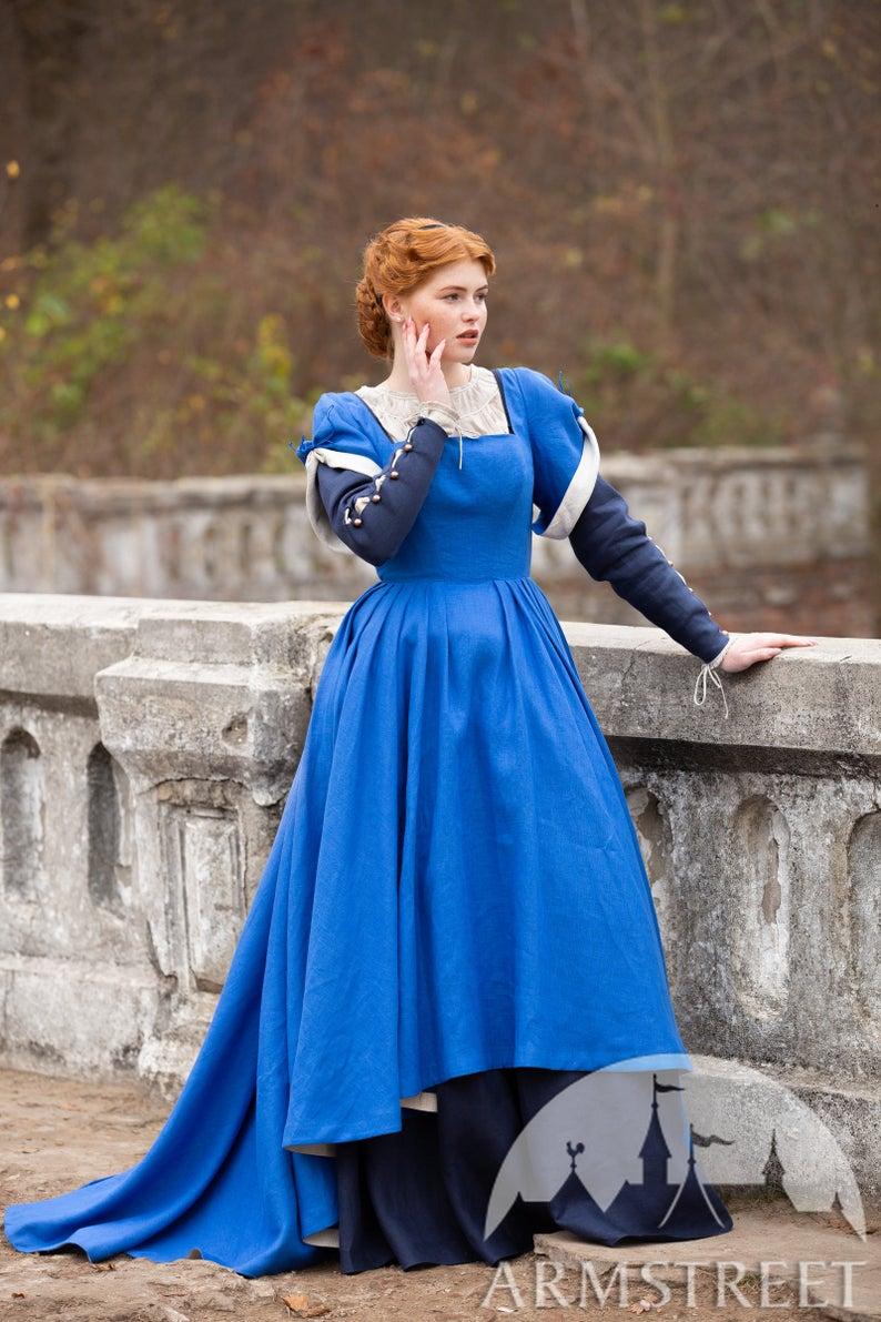 "Fitted linen overdress with asymmetric hem ""German Rose""; Short Sleeve Medieval Dress #overgrownaesthetic"