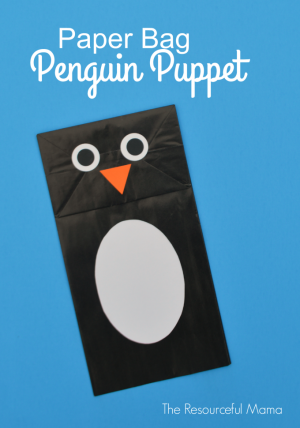 This paper bag penguin puppet is a fun and easy penguin craft project for kids.