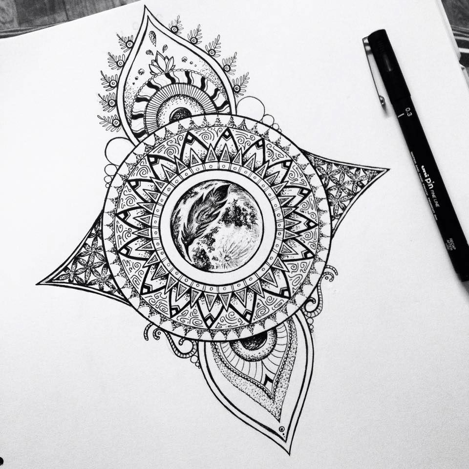 61e8aebde Mandala moon tattoo design on Behance   Sacred Geometry   Moon ...