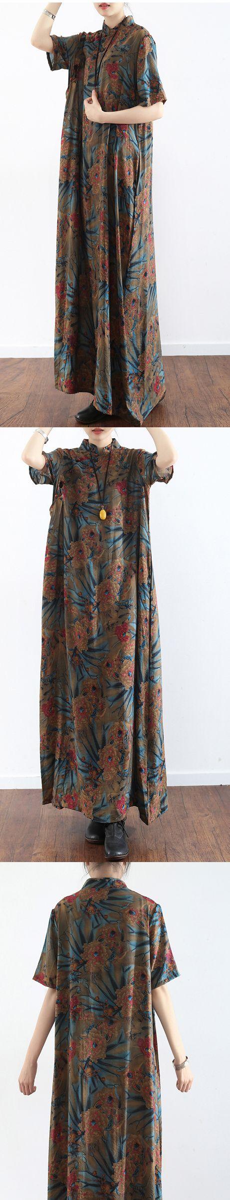 Original prints casual linen dresses plus size vintage sundress