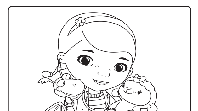 In Front Of The Clinic Doc Mcstuffins Coloring Pages Disney Coloring Pages Cartoon Coloring Pages