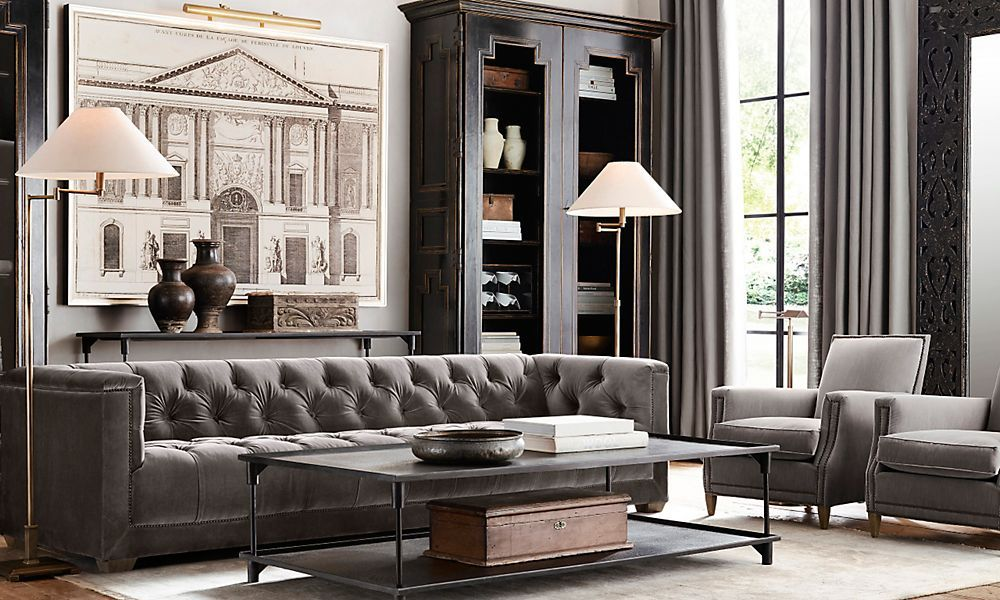 fascinating restoration hardware living room home deco | This room is pretty boring and gray, but I do like the ...