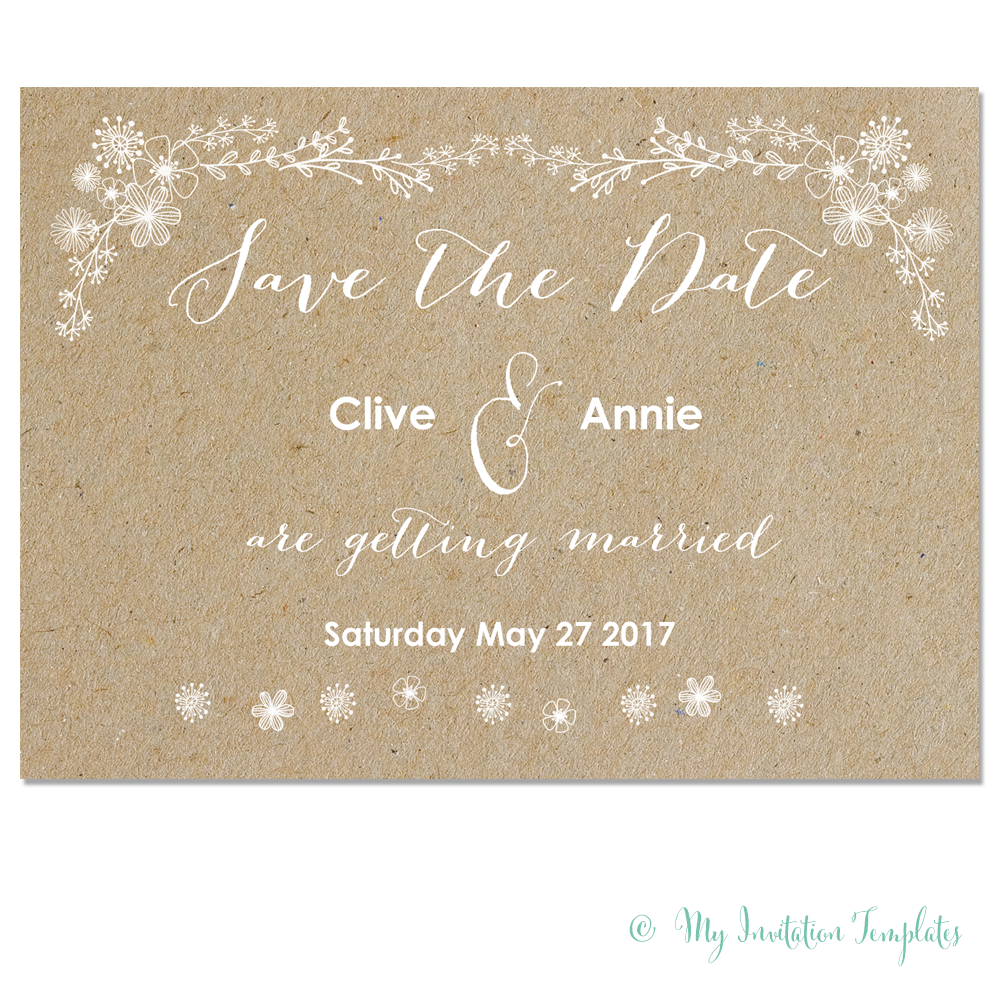 FREE whimsical wedding save the date template Printable floral – Email Wedding Save the Date