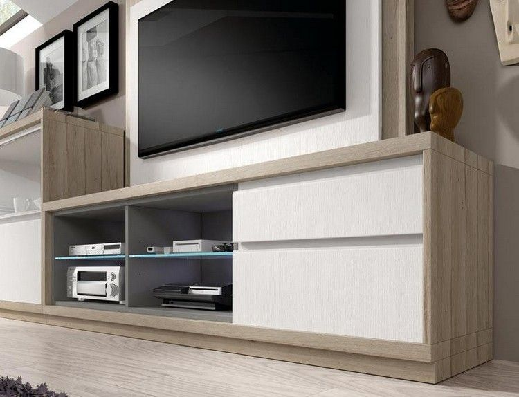 moderne holz tv m bel mit wei en fronten stube. Black Bedroom Furniture Sets. Home Design Ideas