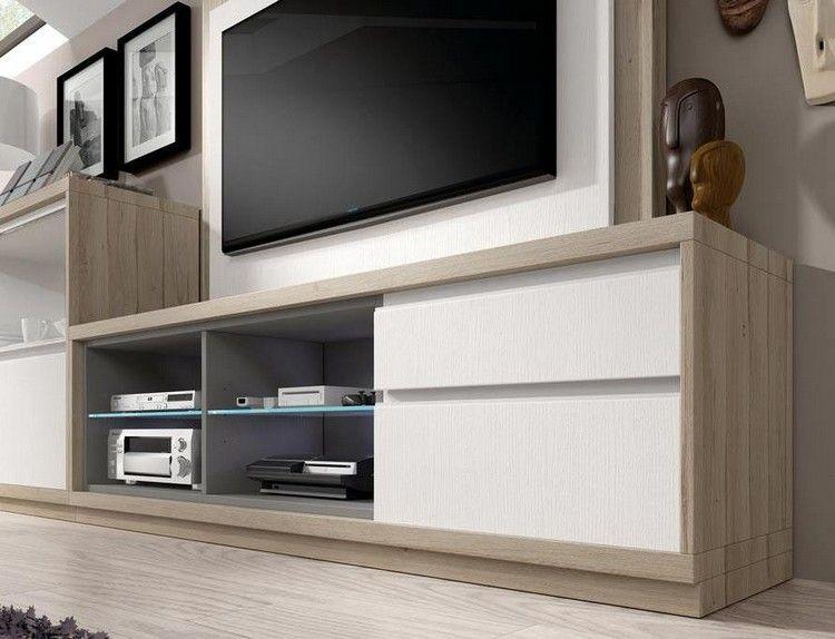 moderne Holz TV Möbel mit weißen Fronten Wohnzimmer tv - möbel wohnzimmer modern