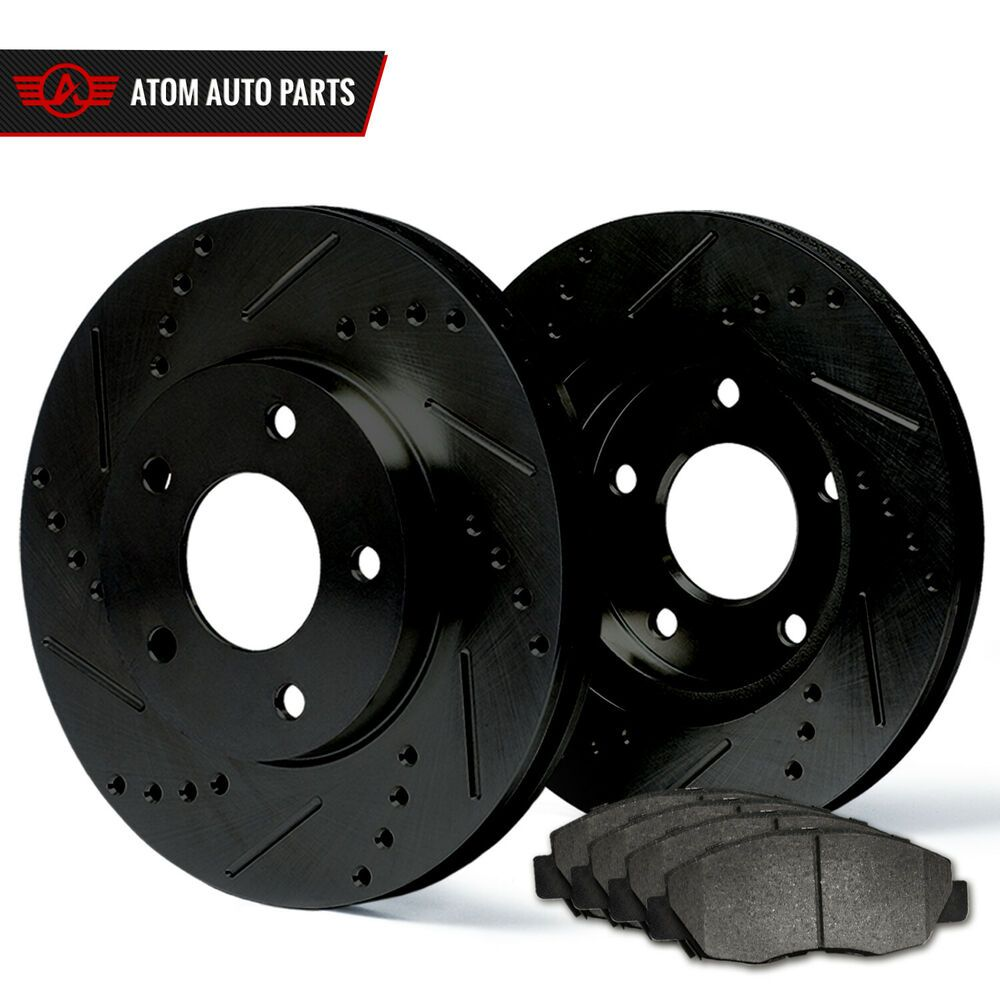 Front /& Rear Drill Slot Brake Rotors And Ceramic Pads For 08-13 Highlander