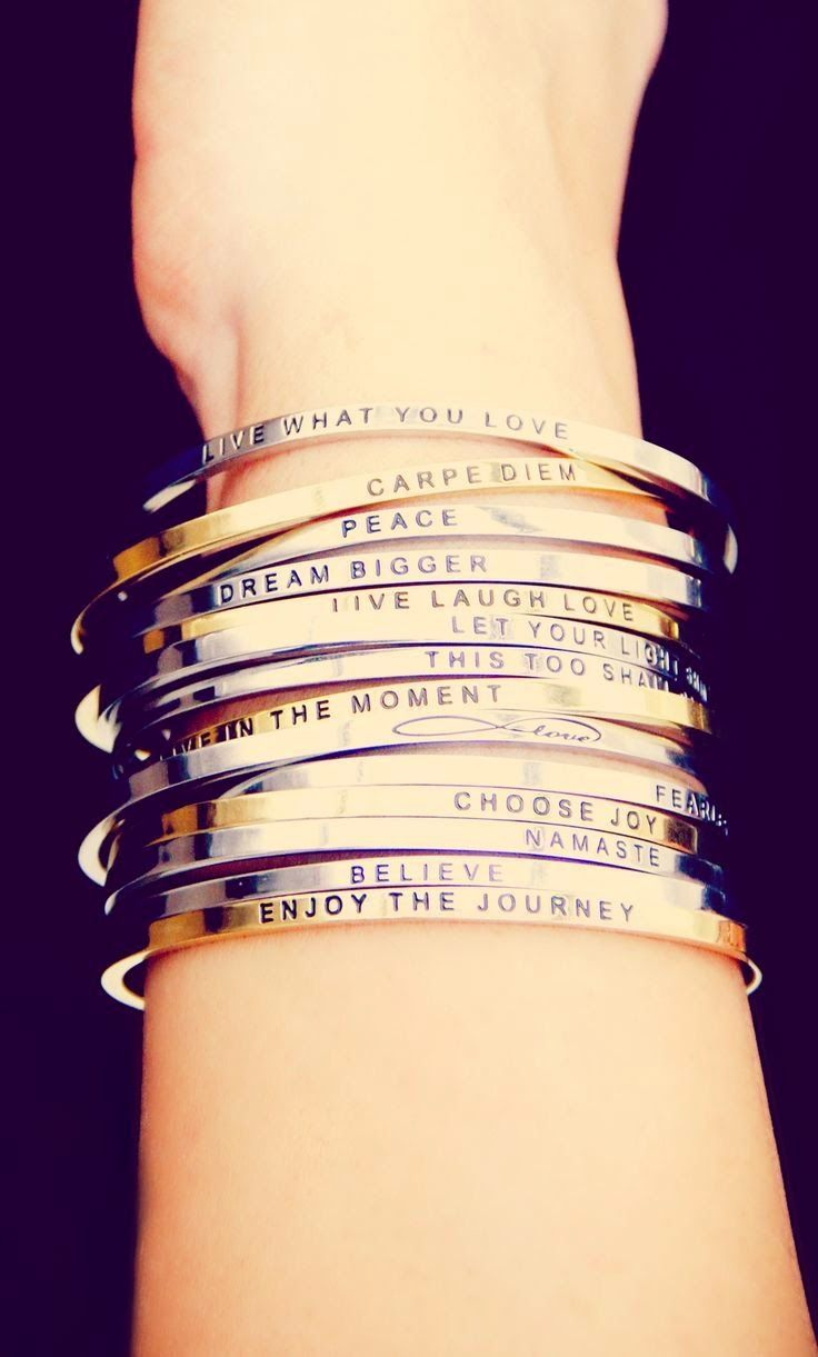 LOVE these stackable bracelets! How cute are those sayings  I d wear them  everyday! 19e6d22d912fd