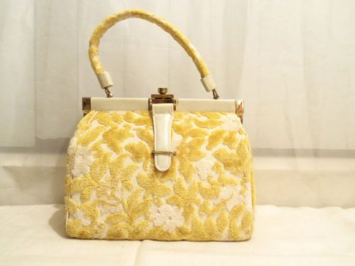 60s Yellow Beige Flocked Floral Tapestry Kelly Purse
