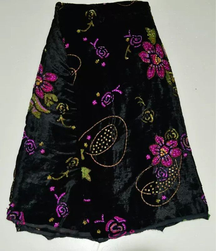 6a51acda5fd2e Fashionable black African velvet lace fabric with beading and ...