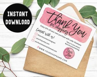 Pink Thank You for Shopping Card, Business Thank You Card, Instant Download Business Card Template, Editable Printable Business Packaging #businessthankyoucards