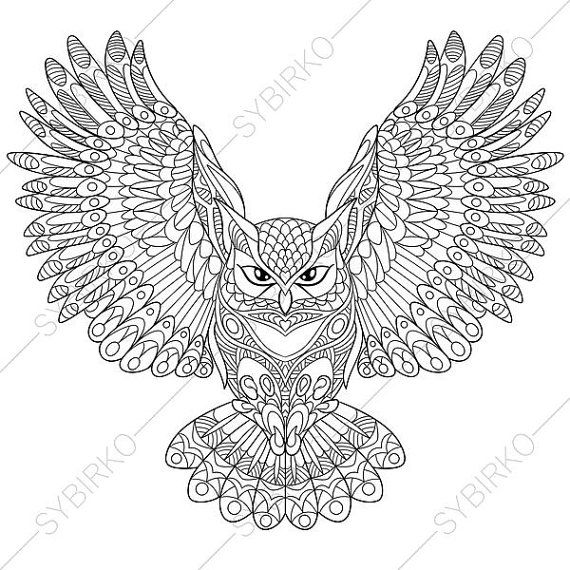 Owl Adult Coloring Book Page Zentangle Doodle Pages For Adults Digital Illustration