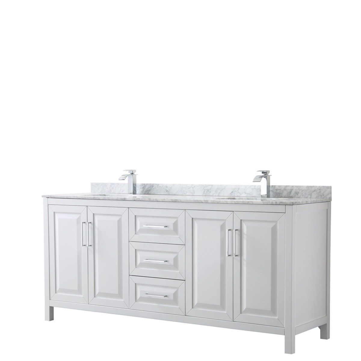 Daria 80 Inch White Double Vanity Marble Top No Mirror Wyndham