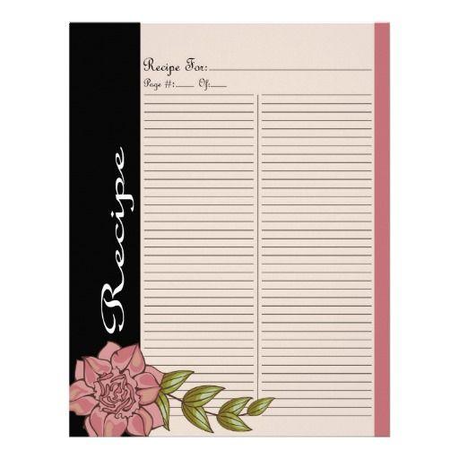 Extra Recipe Page for Pink Rose Recipe Binder - 1C #binderpage #specialtybinderpage #recipe #recipebook #recipebinder #retro #rose #recipepage #pink