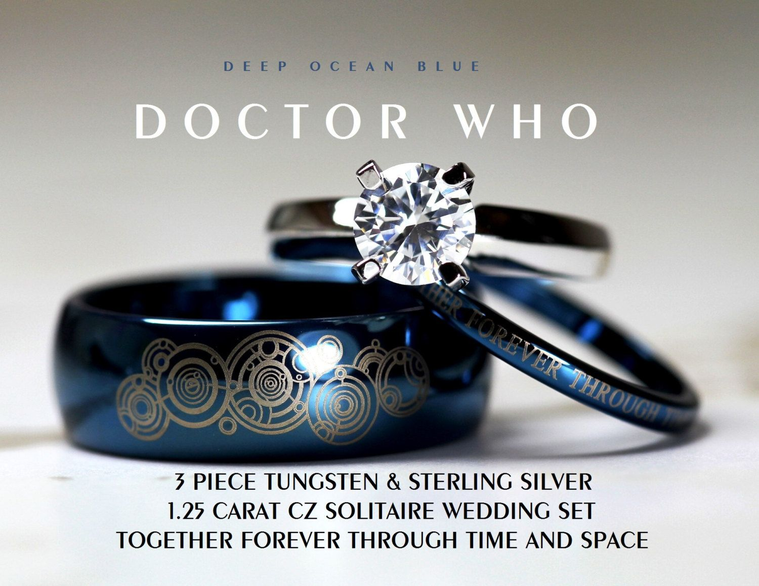 blue doctor who his 8mm tungsten and hers 4mm 925 sterling silver 125 carat solitaire cz wedding ring set custom engraved