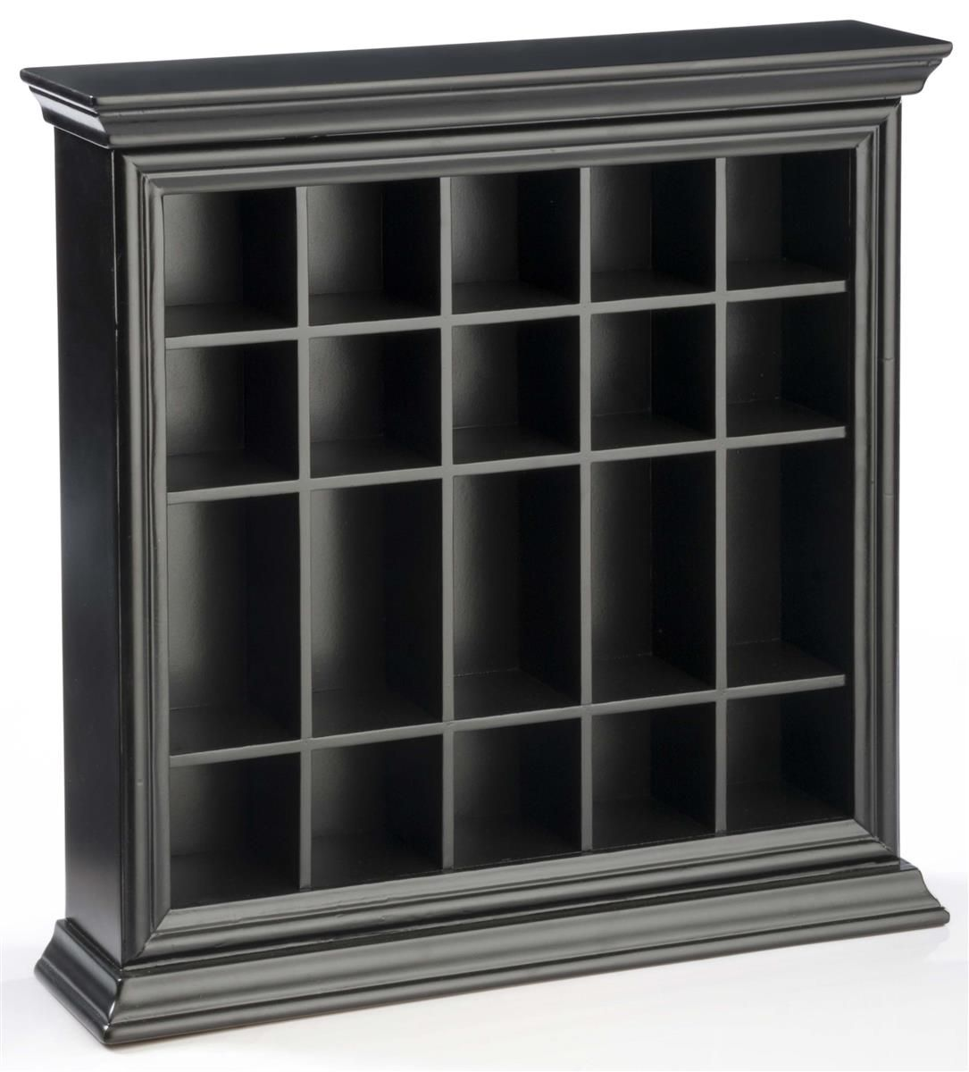 Shot Glass Display Case Tabletop Wall Crown Molding Open Face - Black Basement In