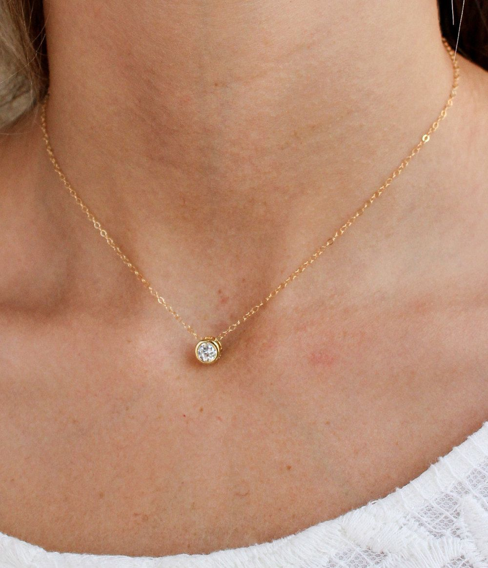 Suspended Solitaire Necklace Tiny Round Crystal Circle Dainty