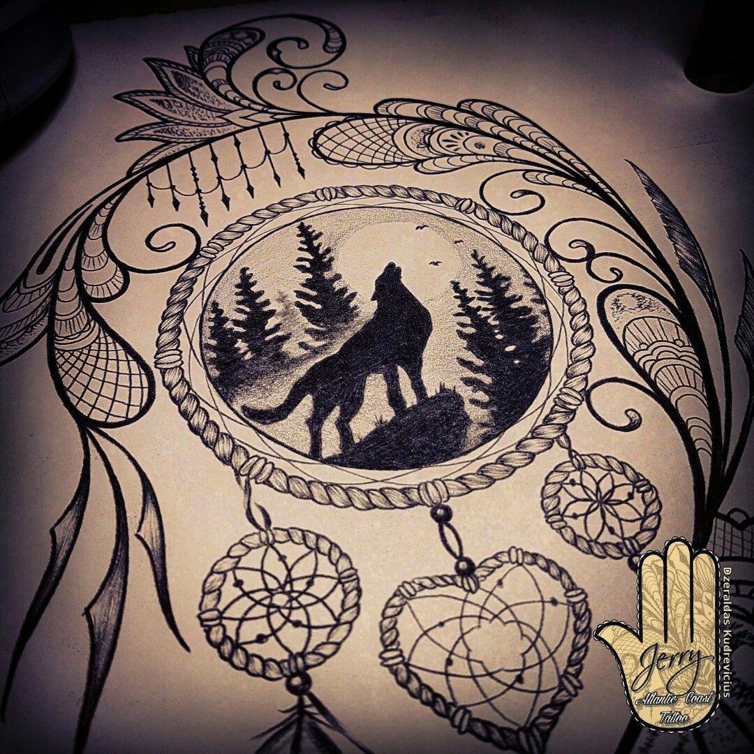 Dream Catcher Tattoo Design Howling Wolf Dream Catcher Tattoo Design Howling Wolf Tattoo Wolf Tattoo Sleeve