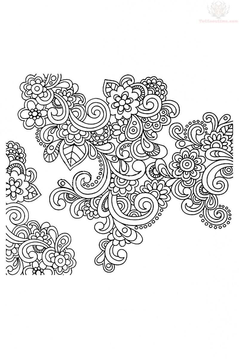 Coloring pages of mehndi hand pattern - Vector Hand Drawn Abstract Henna Paisley Doodles And Flowers Tattoo Design