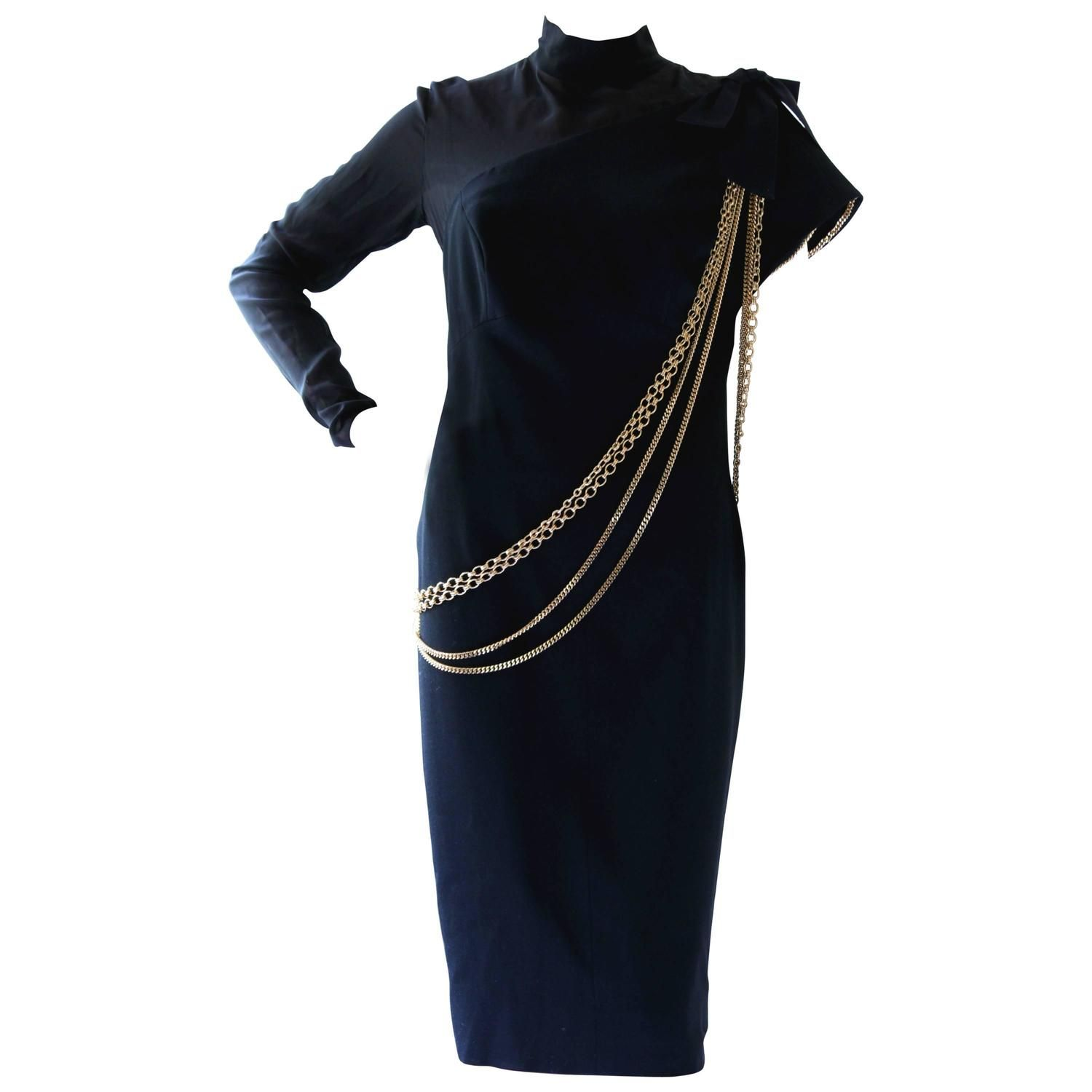 Chanel Little Black Dress With Gold Chains Wool Sheer Silk Bodice 1985 Size M 1s Chanel Little Black Dress Designer Evening Dresses Evening Dresses Vintage [ 1500 x 1500 Pixel ]