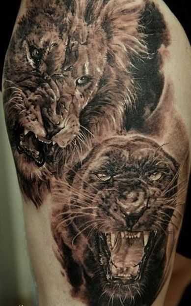 Realistic Black Panther Animal Tattoo