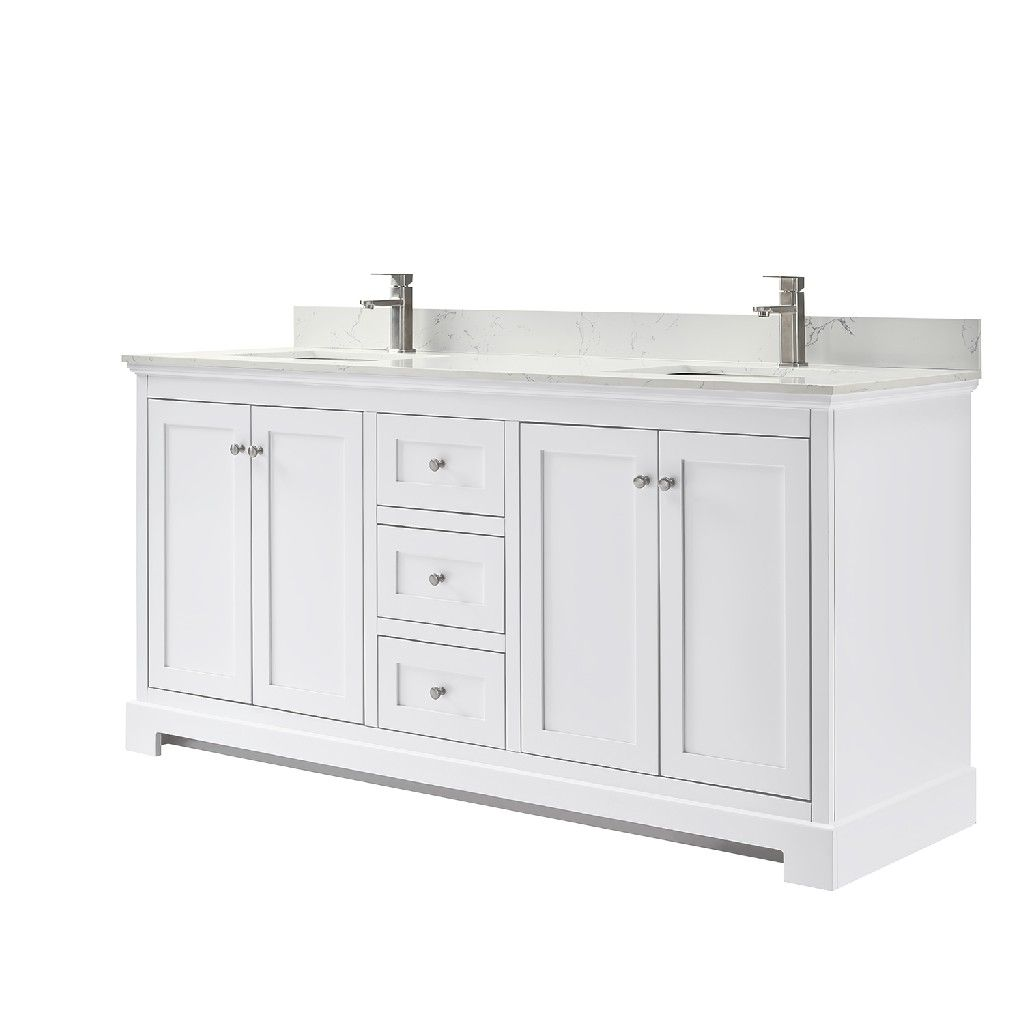 Wyndham Collection Sheffield 72 In Double Vanity In White With Marble Vanity Top In Carrara White Wcs141472dwhcmunsmxx The Home Depot Double Vanity Bathroom Bathroom Vanity Marble Vanity Tops