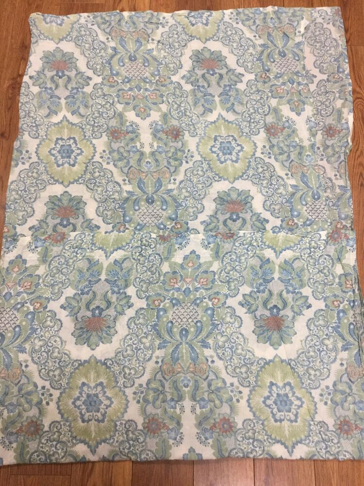 Details About Pottery Barn Shower Curtain Blue Green Rust Floral