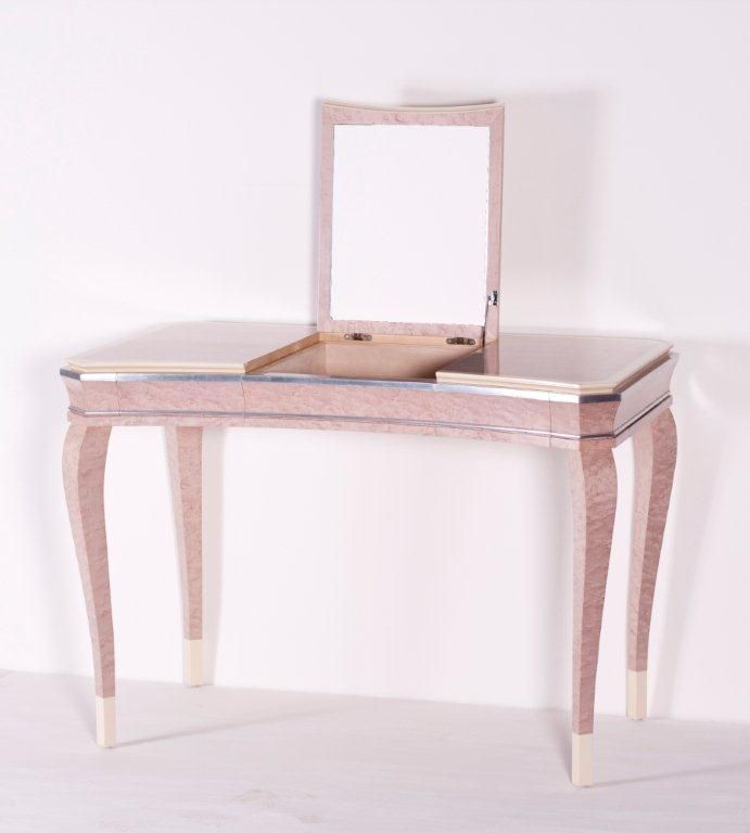 Art Deco Dressing Table With Lift Up Lid And Internal Mirror Silver Gilt Faux Ivory Details To Trim And Legs Two Drawers And Tw Art Deco Dressing Table Furniture Art