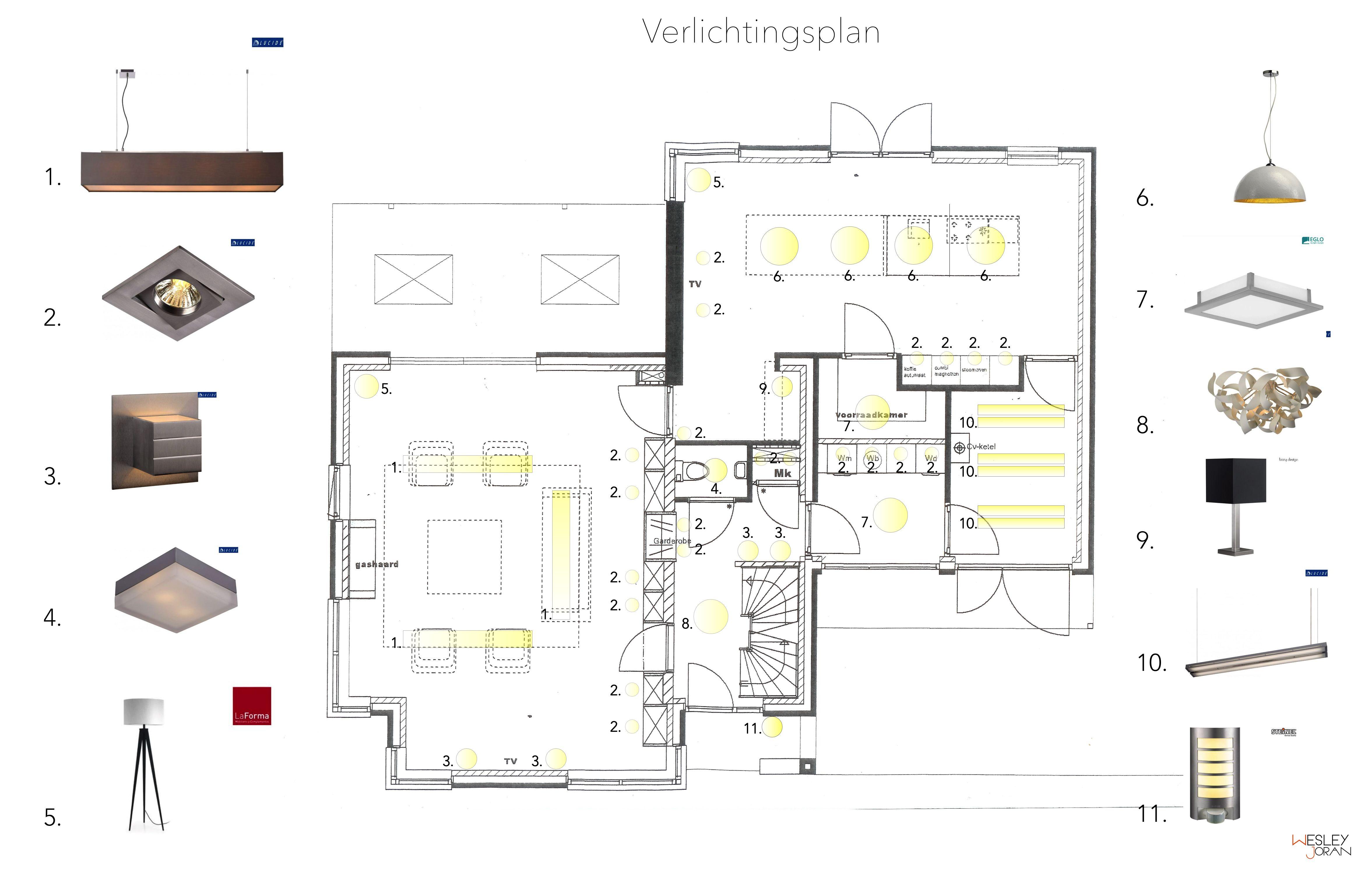 Verlichtingsplan  Opdrachten Interieurstylist