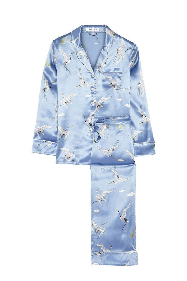 Olivia Von Halle Woman Printed Silk-satin Pajama Set Blue Size 4 Olivia Von Halle Top Quality For Sale Clearance Official Site Free Shipping Outlet Excellent 3pGSX
