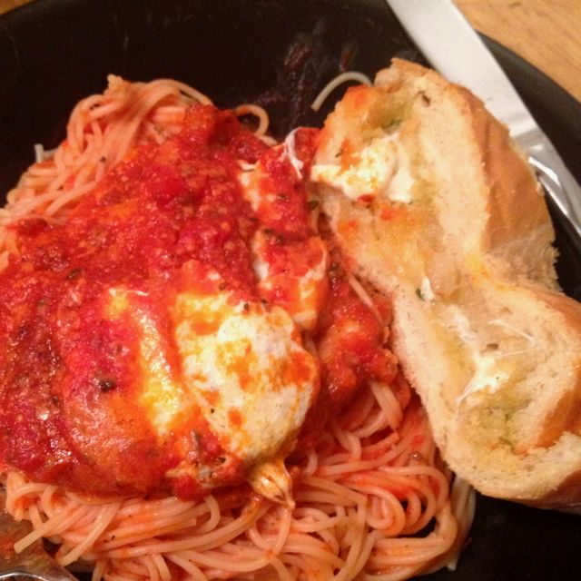Chicken Parmesan on angel hair paired with garlic/honey/cheese French Bread!  :)   Successful Dinner!