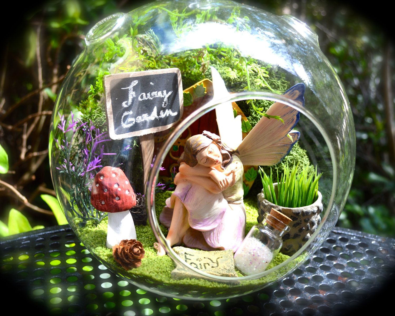 fairy garden terrarium 8 glass globe beautiful fairy in enchanted garden lichen moss mushroom fairy door sign gift idea by - Fairy Garden Terrarium
