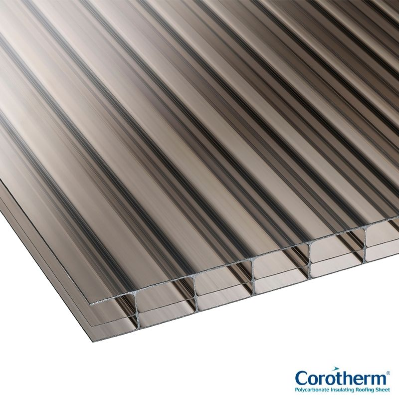 Corotherm 16mm Bronze Triplewall Polycarbonate Sheet 3000mm X 2100mm Roofing Superstore Roofing Superstore Plastic Roofing Corrugated Plastic Roofing Plastic Guttering
