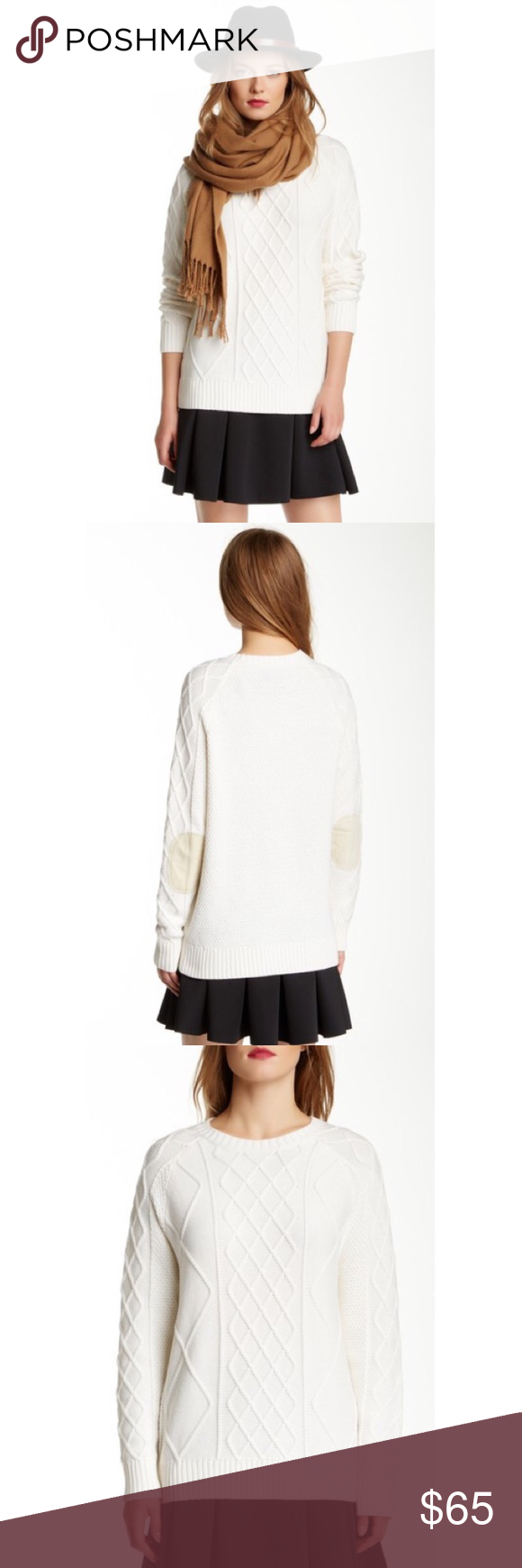 Rachel Zoe Rocco Cable Knit Sweater New without tag, Size Small                                    Details: - Crew neck  - Long sleeves with ribbed cuffs - Ribbed hem Fiber Content: 85% cotton, 15% cashmere Rachel Zoe Sweaters