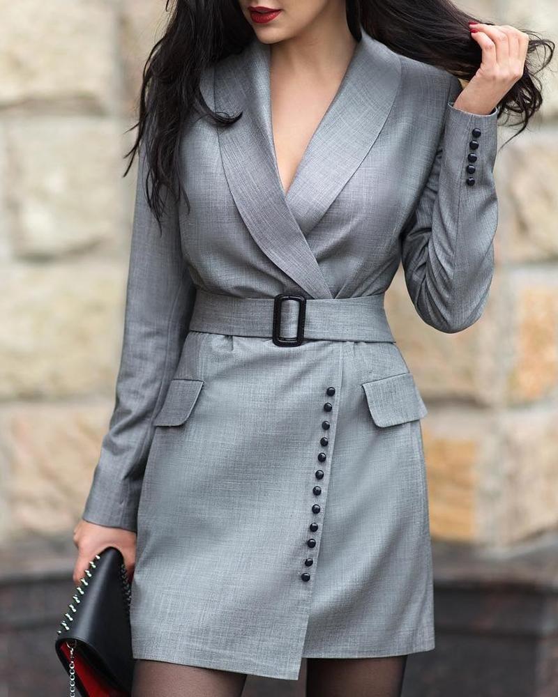 Notched Collar Popper Cuff Blazer Dress, #WorkDresses