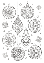 Verschiedene Christbaumkugeln Weihnachtsmalvorlagen